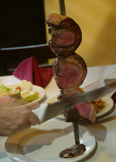 Steak on a sword